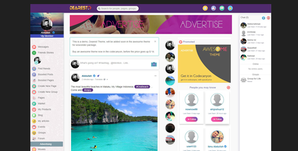 ✨Awesome-Theme for WoWonder Social PHP Script Nulled