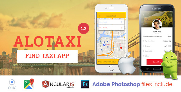 ✌AloTaxi – Mobile App Template Nulled