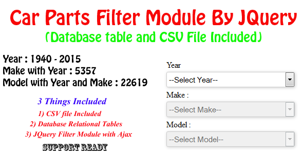 ✨Car Parts Filter Module By JQuery -Year/Make/Model Nulled
