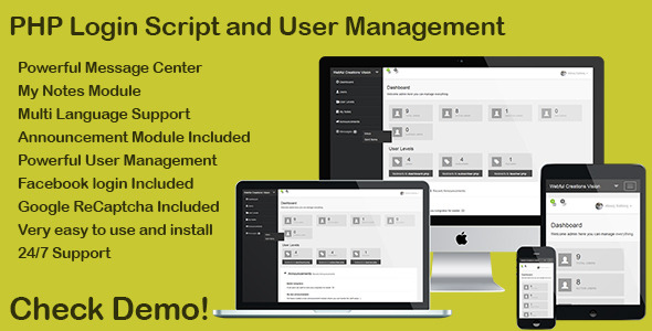 ✨PHP Login & User Management with message center Nulled