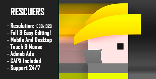 ✨Rescuers – HTML5 Game + Mobile Version! (Construct 2 / Construct 3 / CAPX) Nulled
