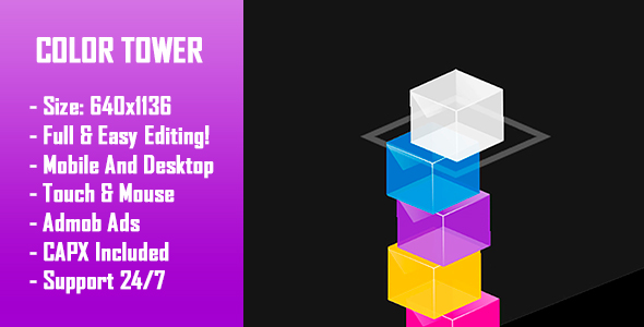 ✨Color Tower – HTML5 Game + Mobile Version! (Construct 2 / Construct 3 / CAPX) Nulled