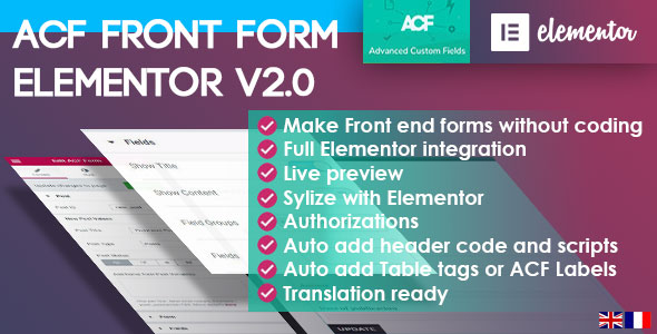 ✅ ACF Front Form for Elementor Page Builder Nulled