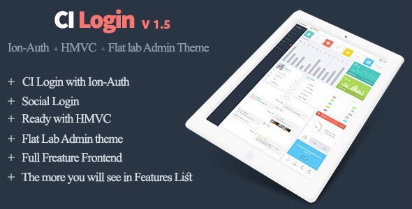 ✨Codeigniter User Management System, Ion-Auth, HMVC with Flat Lab Admin Theme Nulled