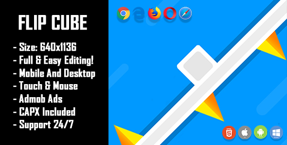 ✨Flip Cube – HTML5 Game + Mobile Version! (Construct 2 / Construct 3 / CAPX) Nulled