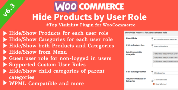✅ WooCommerce Hide Products | Products, Categories Visibility by User Roles Nulled