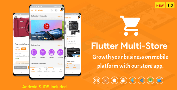 ✨Flutter Multi-Store ( Ecommerce Mobile App for iOS & Android with same backend ) 1.3 Nulled