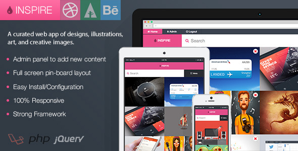 ✨Inspire – Dribbble, Forrst, and Behance Board Nulled