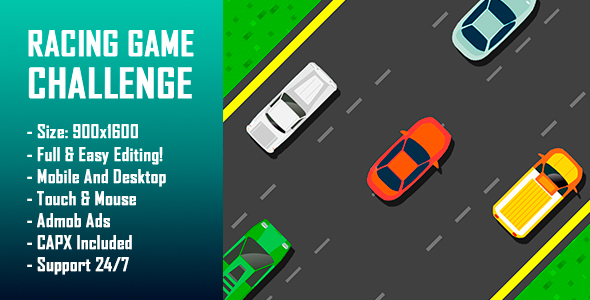 ✌Racing Game Challenge – HTML5 Game + Mobile Version! (Construct-2 CAPX) Nulled