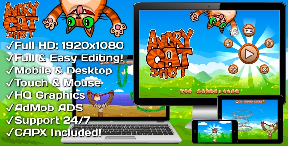 ✨Angry Cat Shot – HTML5 Game 30 Levels + Mobile Version! (Construct 3 | Construct 2 | Capx) Nulled