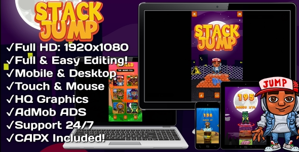 ✅ Stack Jump – HTML5 Game 6 Levels + Mobile Version! (Construct 3 | Construct 2 | Capx) Nulled