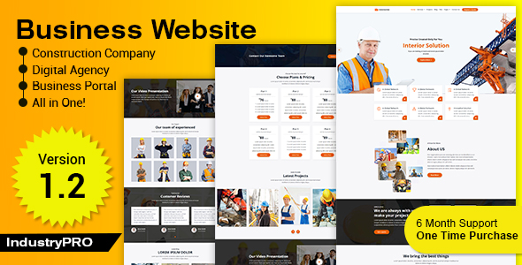 ✨Industry PRO – Multipurpose Construction Builder and Agency Website Script Nulled