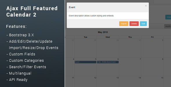 ✨Ajax Full Featured Calendar 2 Nulled