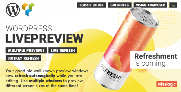 ✌WP LivePreview – Automatically refresh WordPress preview pages while editing Nulled