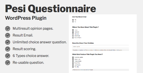 ✨Pesi Questionnaire – Multiresult Survey and Quiz WordPress Plugin Nulled