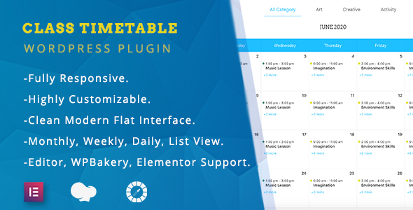 ✨Class Timetable – Responsive Schedule For WordPress Nulled