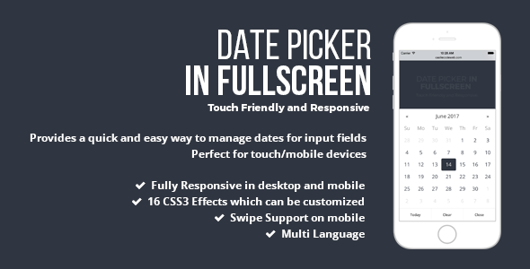 ✅ Date Picker In Fullscreen – jQuery Plugin Nulled