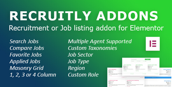 ✌Recruitly Addons: Recruitment or Job listing plugin or addon for Elementor of WordPress. Nulled