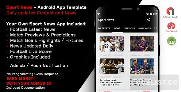 Sport News – Football Android App Template (Admob/Push)