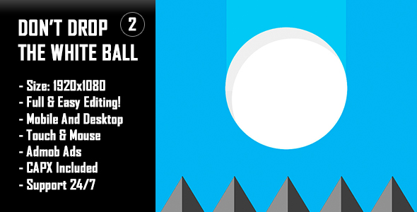 ✌Don't Drop The White Ball 2 – HTML5 Game + Mobile Version! (Construct-2 CAPX) Nulled