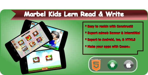 ✌Marbel Kids Learning Read & Write HTML5 Mobile Applications + Admob Nulled
