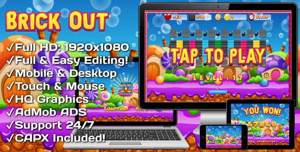 ✌Brick Out – HTML5 Game, Mobile Version+AdMob!!! (Construct 3   Construct 2   Capx) Nulled