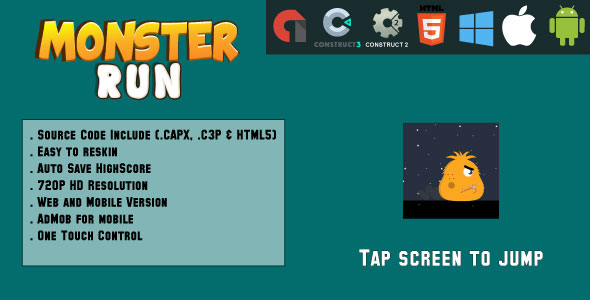 ✨Monsters Run Adventure – HTML5 Game – Web & Mobile + AdMob (CAPX, C3p and HTML5) Nulled