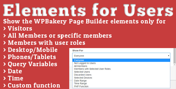 ✅ Elements for Users – Addon for WPBakery Page Builder Nulled