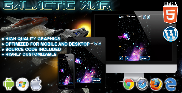 ✅ Galactic War – HTML5 Game Nulled