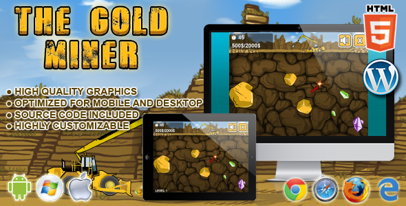 ✨Gold Miner – HTML5 Game Nulled