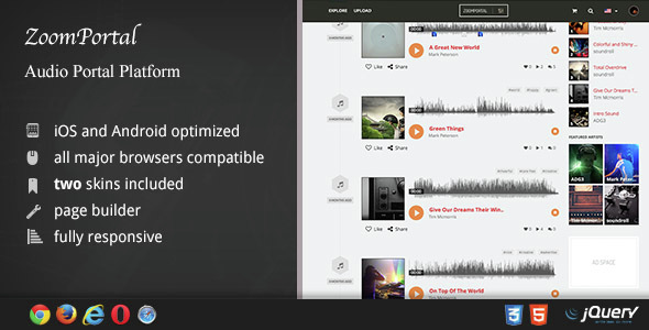 ✅ ZoomPortal – Audio Portal and Song Sharing Platform Nulled