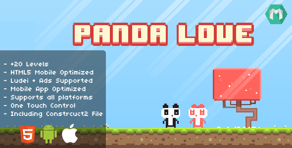 ✌Panda Love – HTML5 Game (Construct 2 & Construct 3) Nulled
