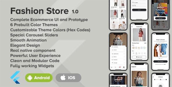 ✅ Fashion Store – Flutter Ecommerce UI Nulled