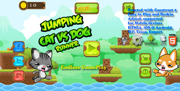 ✨Jumping Cat & Dog Runner — HTML5 Game, Mobile Vesion+AdMob!!! (Construct-2 CAPX) Nulled