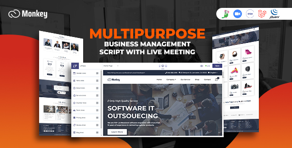 ✨Monkey – Laravel Multipurpose Website CMS & Business Agency Management With Live Meeting Nulled
