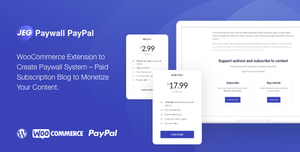 ✨Jeg Paywall & Content Subscriptions System with Paypal for WooCommerce Nulled