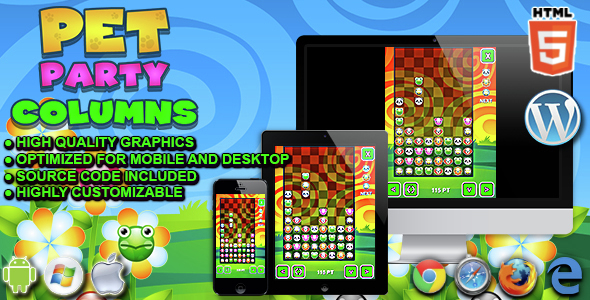 ✅ Pet Party Columns – HTML5 Matching Game Nulled