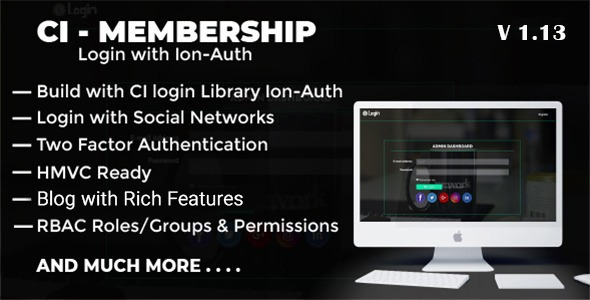 ✅ Codeigniter Login with Ion Auth, HMVC, Social Login and User management System Nulled