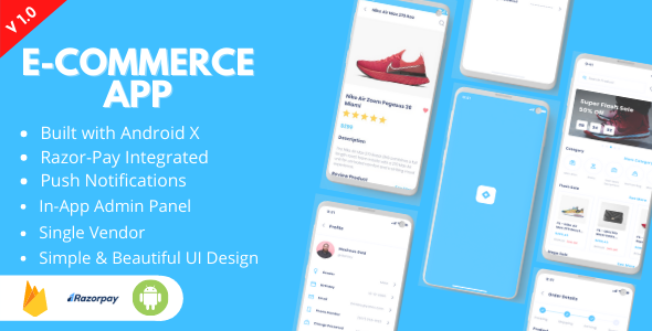 ✅ Ecommerce App – Android Online Shopping App for Single Vendors Nulled