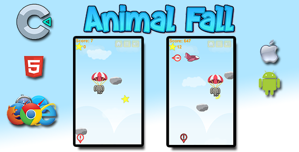 ✌Animal Fall – HTML5 Mobile Game Nulled