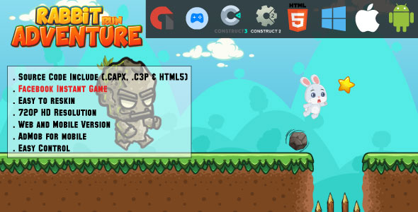 ✌Rabbit Run Adventure – HTML5 Game – Mobile, Facebook Instant Game & Web (HTML5, CAPX & C3P) Nulled