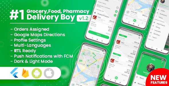 ✌Delivery Boy for Groceries, Foods, Pharmacies, Stores Flutter App Nulled