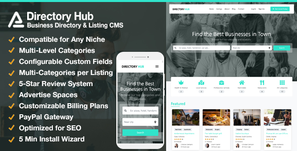 ✌Directory Hub Listing & Business Directory CMS Nulled