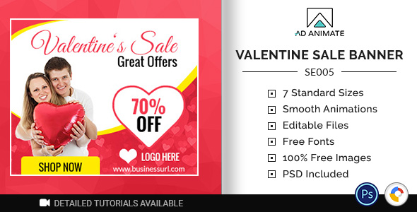 ✅ Shopping & E-commerce | Valentine Sale Banner (SE005) Nulled