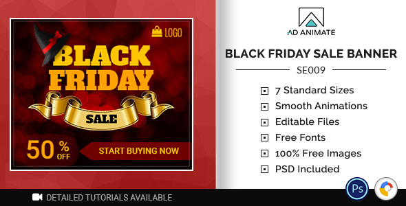 ✌Shopping & E-commerce | Black Friday Sale Banner (SE009) Nulled