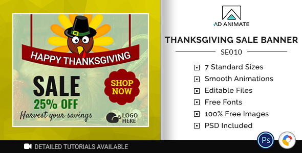 ✅ Shopping & E-commerce | Thanksgiving Sale Banner (SE010) Nulled