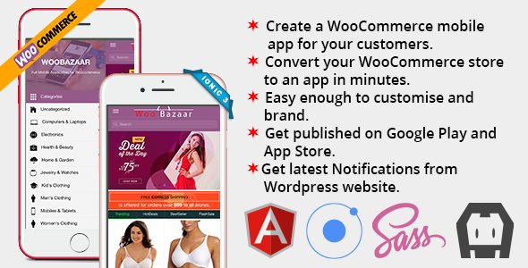 ✨Woobazaar Full Mobile Application for Woocommerce Ionic 3 Nulled