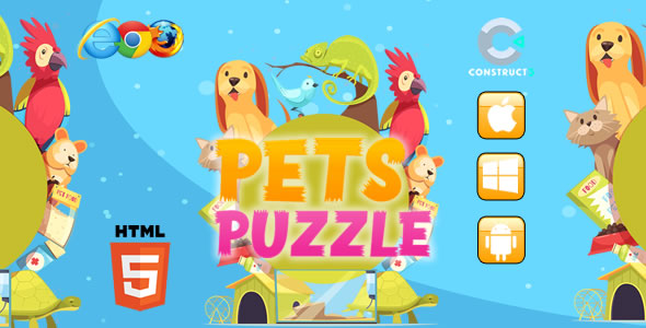 ✅ Pets Puzzle HTML5 Game – Construct 3 (c3p) Nulled