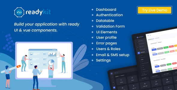 ✨ReadyKit –  Admin & User Dashboard Templates (with functionality) for Laravel + Vue App Development Nulled