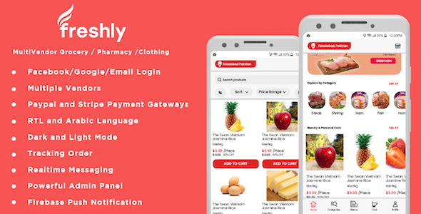 ✨Freshly – Native Multi Vendor Grocery, Food, Pharmacy, Store Delivery Mobile App with Admin Panel Nulled